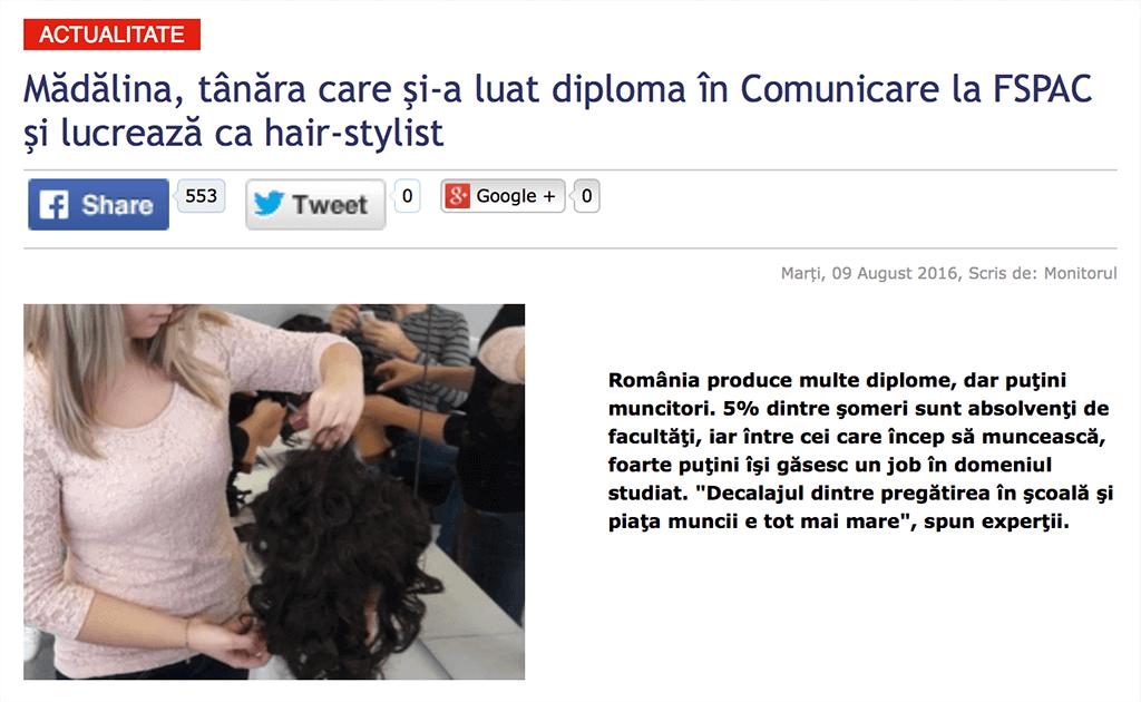 Madalina, tanara care si-a luat diploma in Comunicare la FSPAC si lucreaza ca hair-stylist