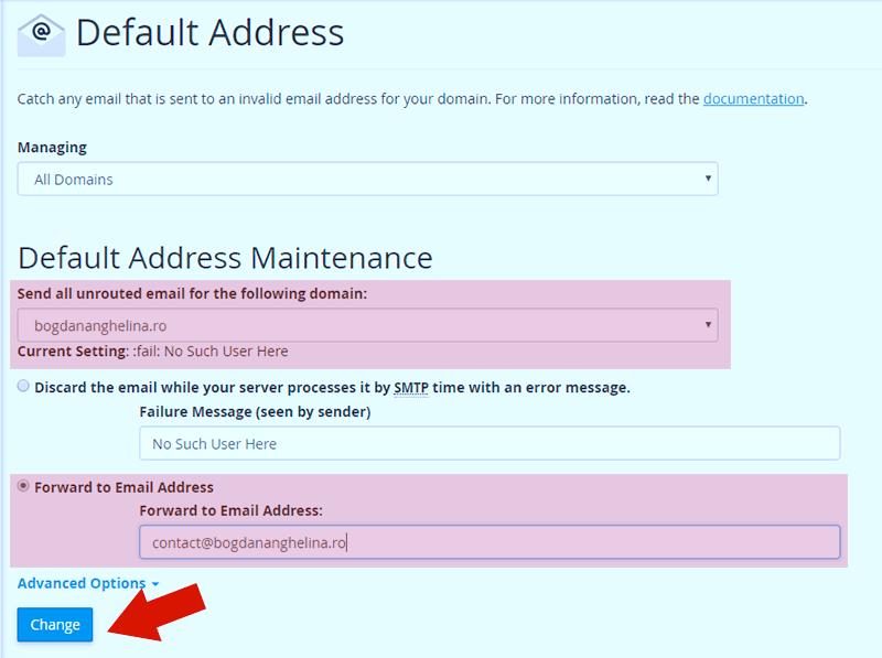 Setare adresa de mail implicita